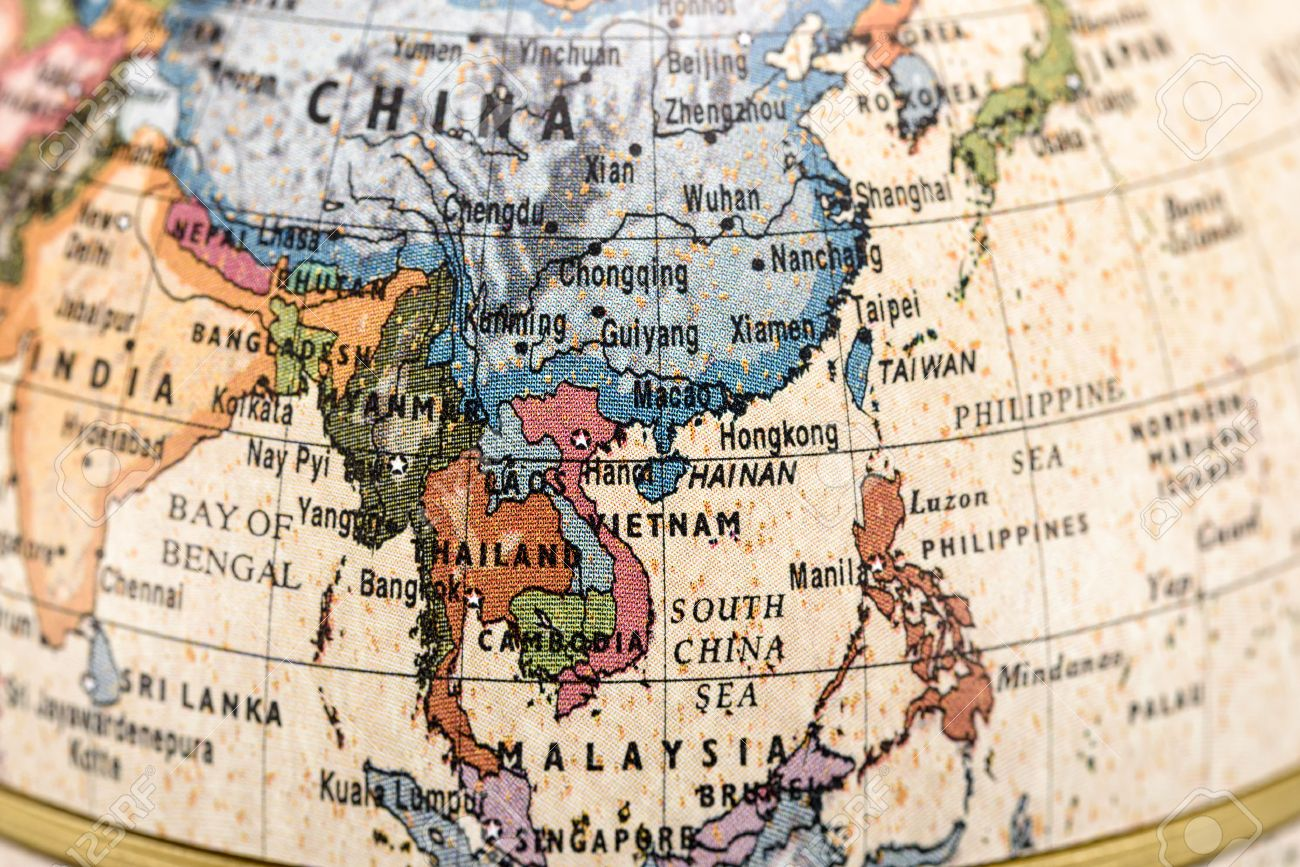 Close up of east and southeast asia in the colorful world map stock close up of east and southeast asia in the colorful world map stock photo gumiabroncs Image collections