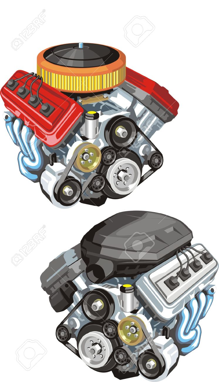 Old And Modern Car Engine Royalty Free Cliparts, Vectors, And Stock ...