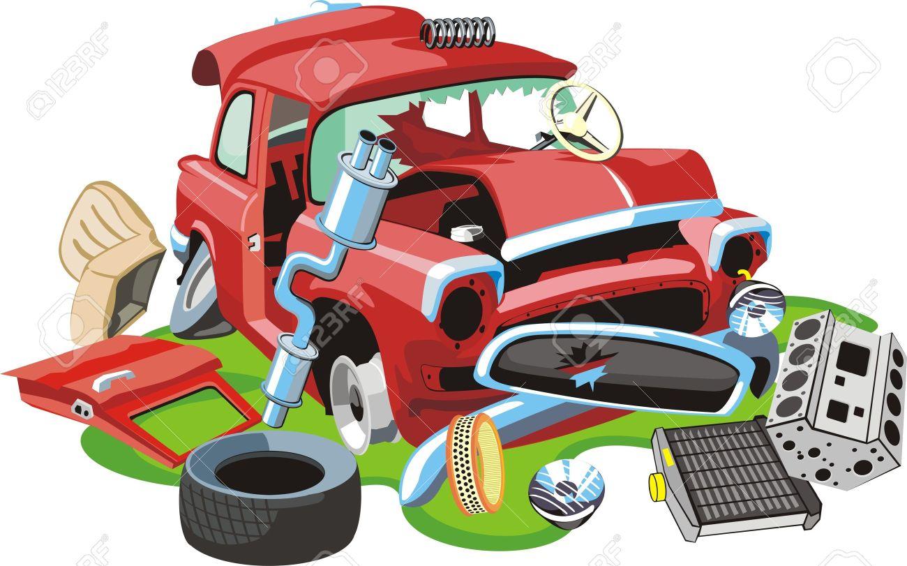 Altes Auto Abgestürzt Und Teile Lizenzfrei Nutzbare Vektorgrafiken ...