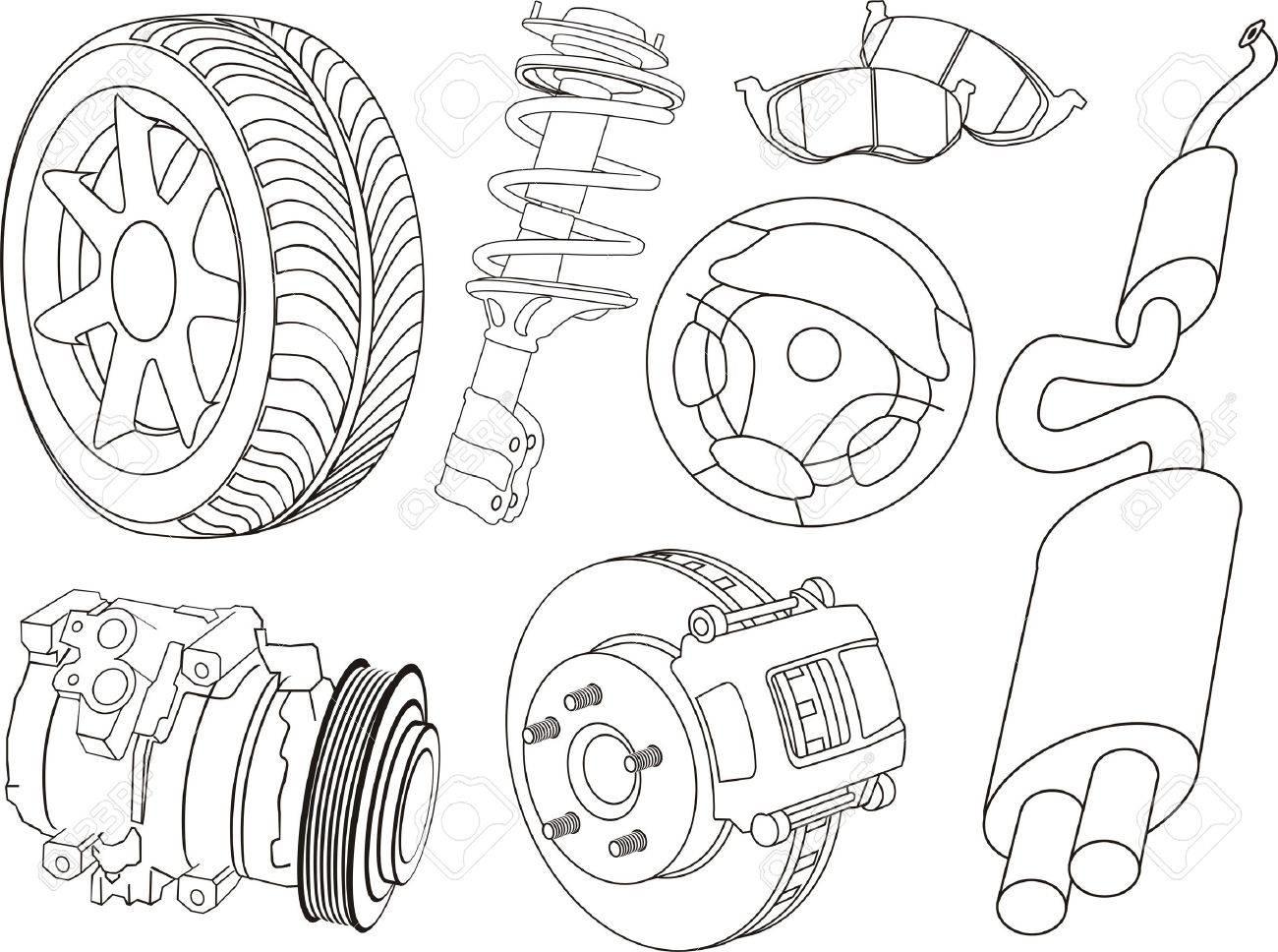 set of car part contours Stock Vector - 13764674