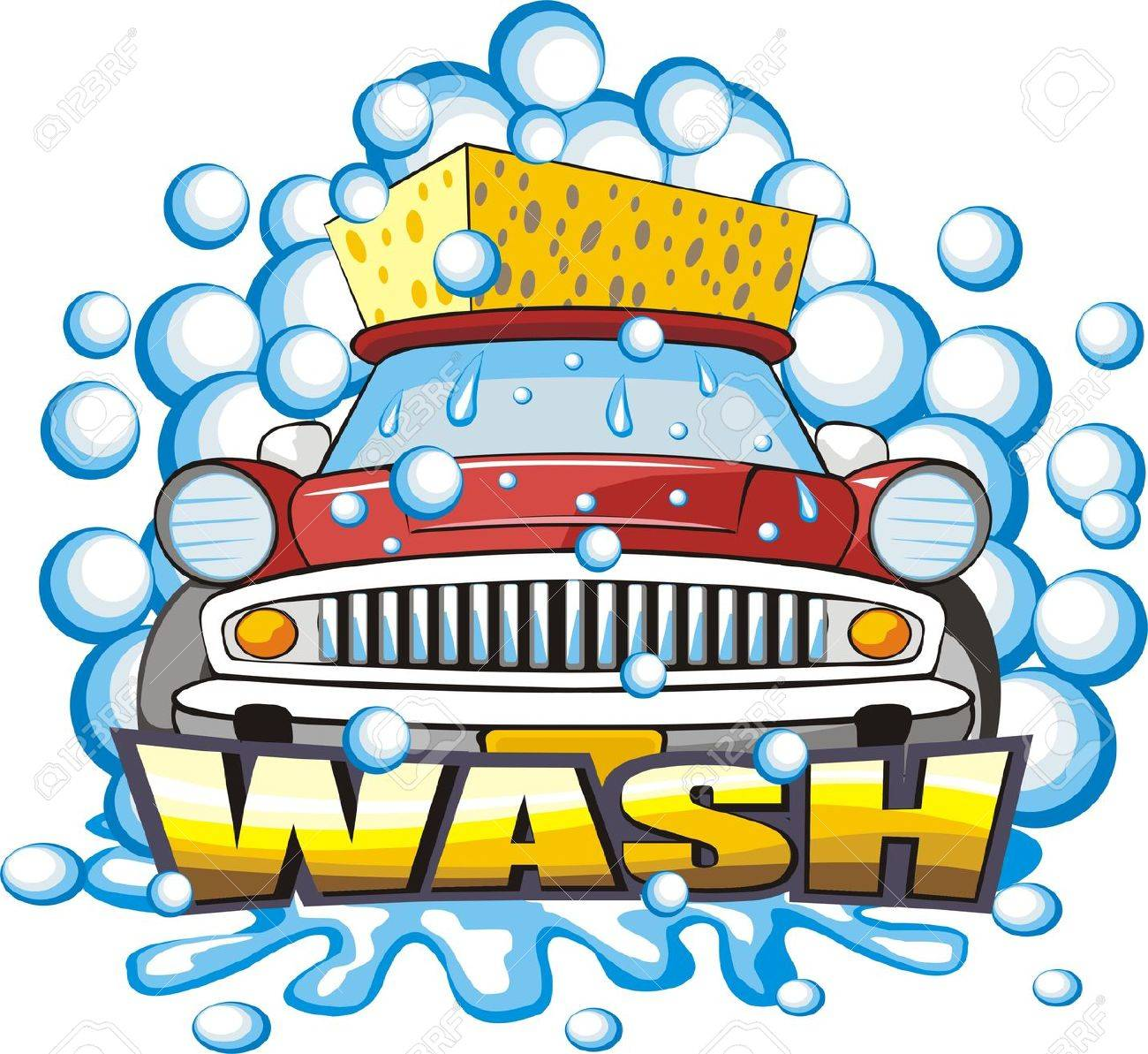 car wash car washing sign with sponge illustration