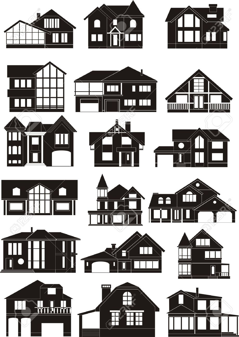 Set of house silhouettes