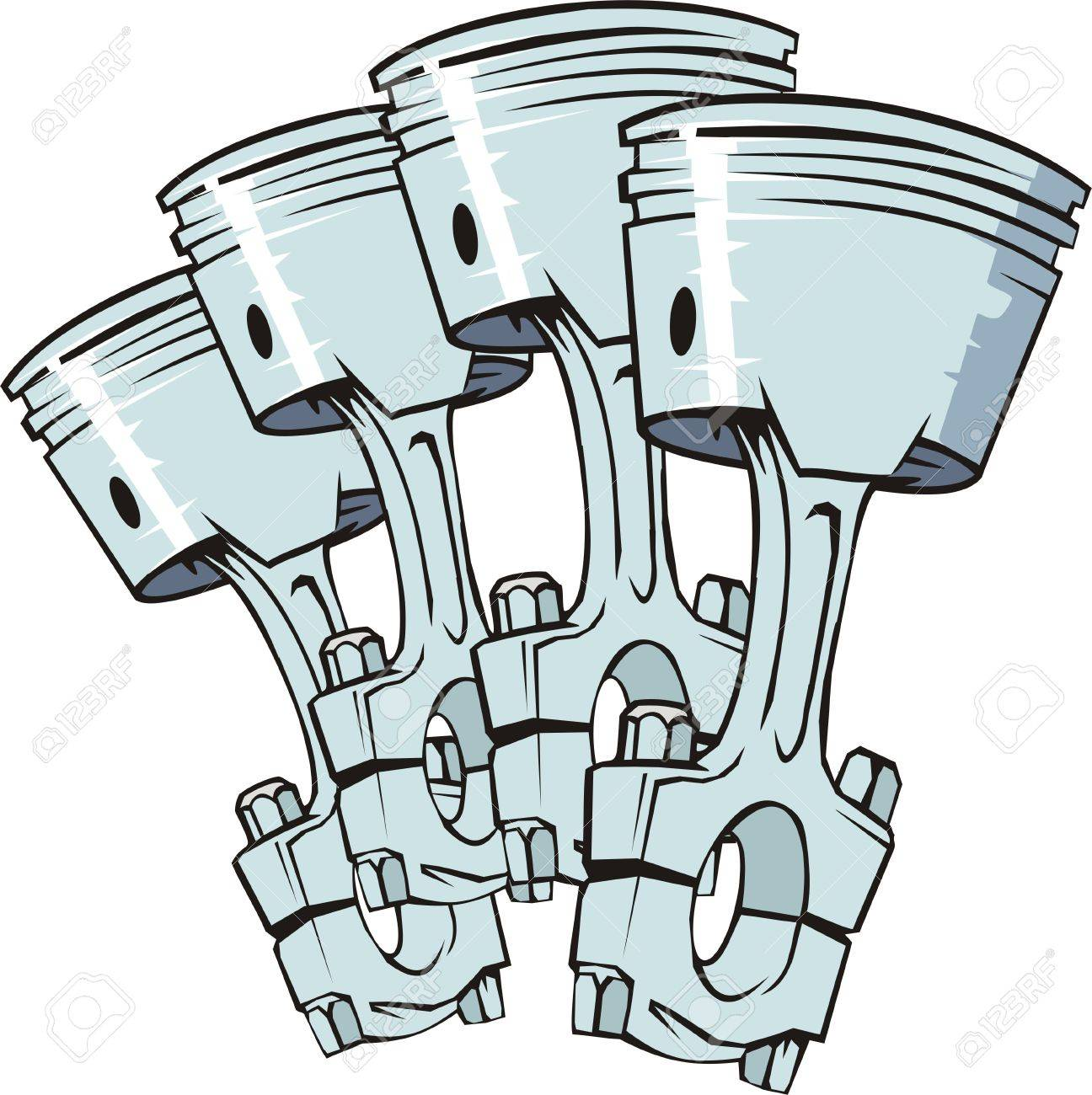 four pistons from engine of internal combustion Stock Vector - 13766962