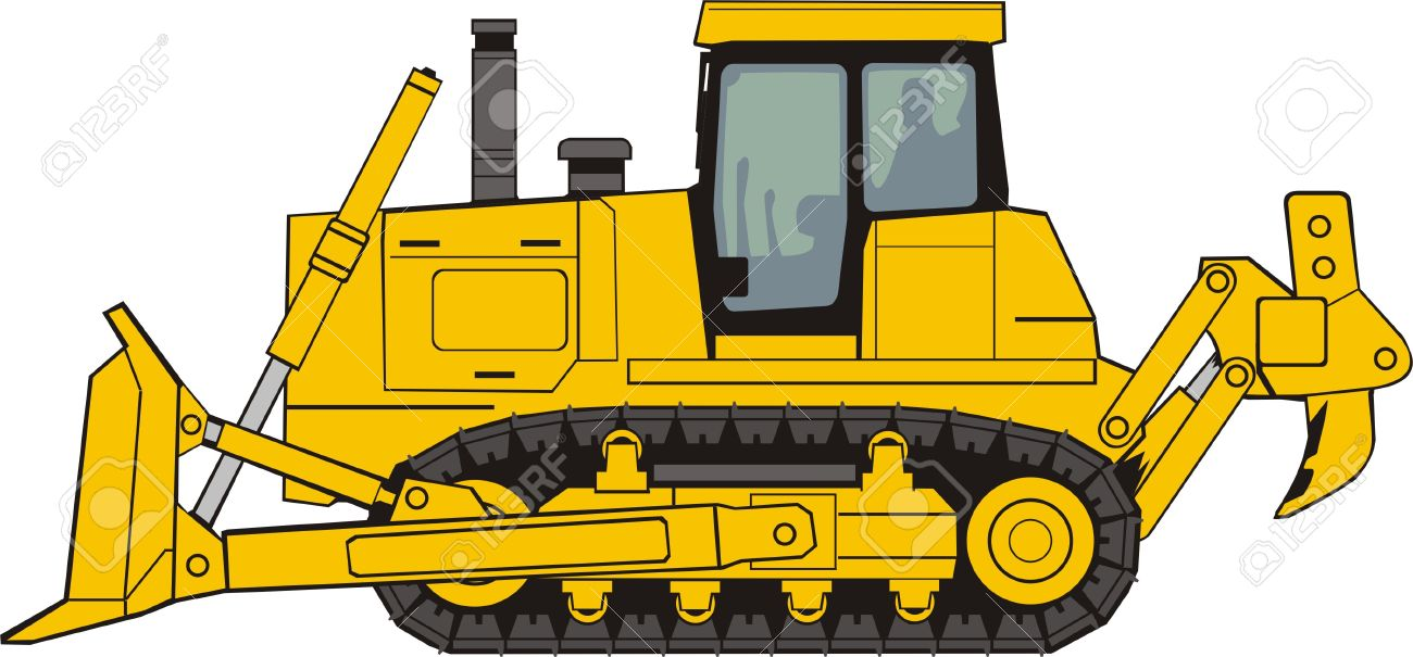 Construction Bulldozer On A Caterpillar Base Royalty Free Cliparts ...