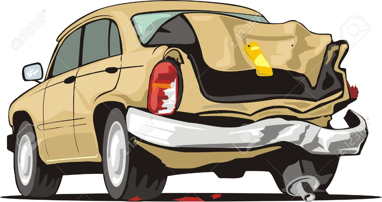 old car with crashed rear Stock Vector - 13766278
