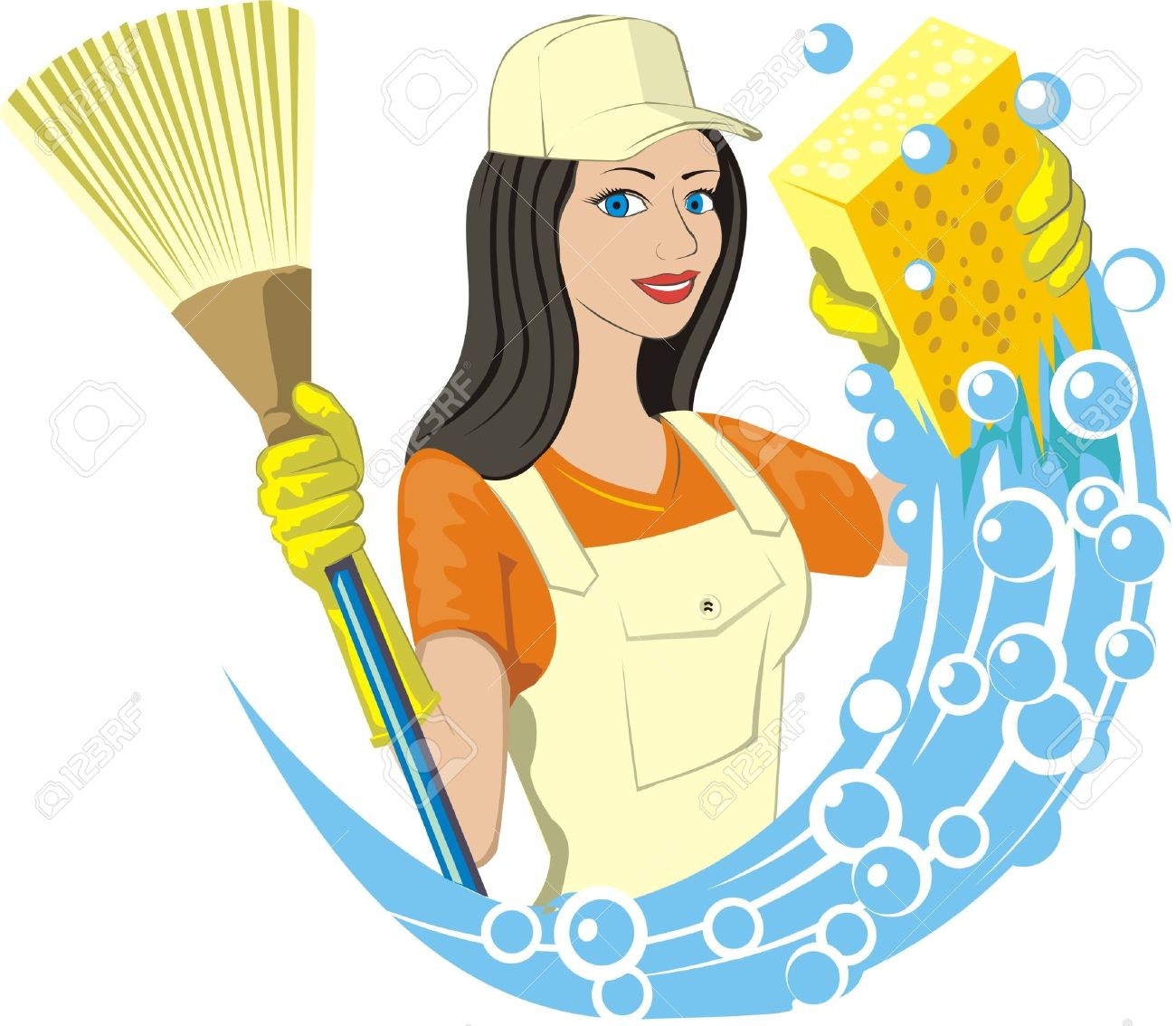 Woman Cleaning Logo Cleaning Service Girl Keeps