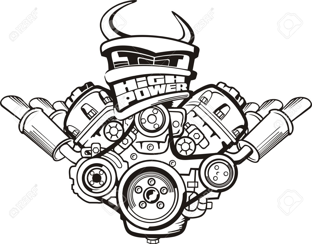 Drawing High Power Car Engine Sign Royalty Free Cliparts, Vectors ...