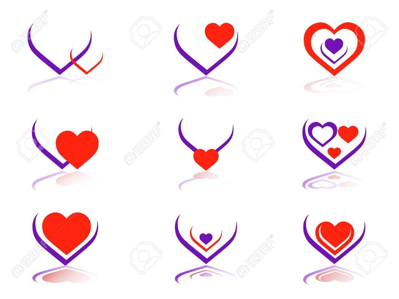 Vector illustration-9 Vector heart icons Stock Vector - 3249349