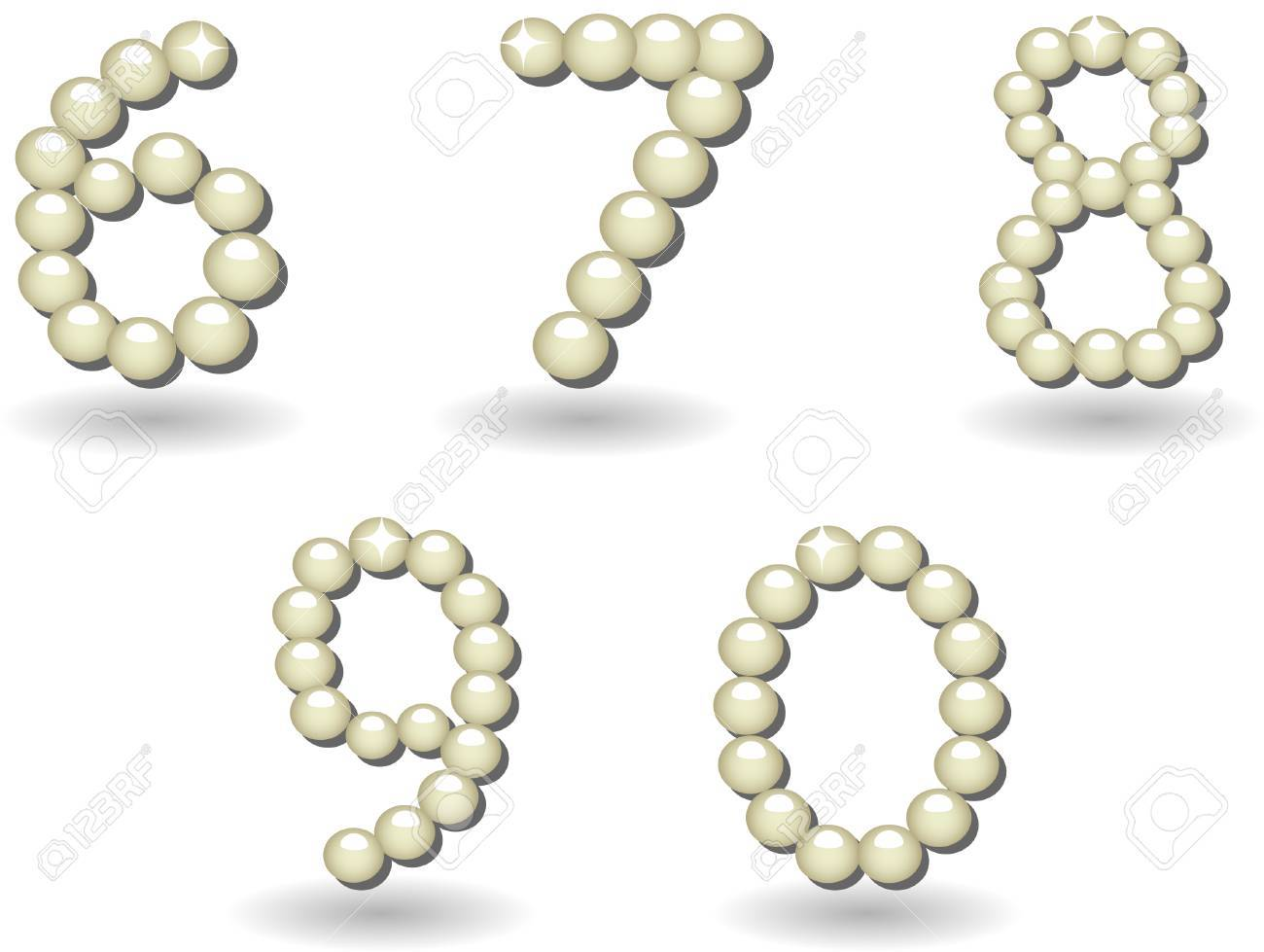 pearls letters and numbers and signs on white background Stock Vector - 4756333