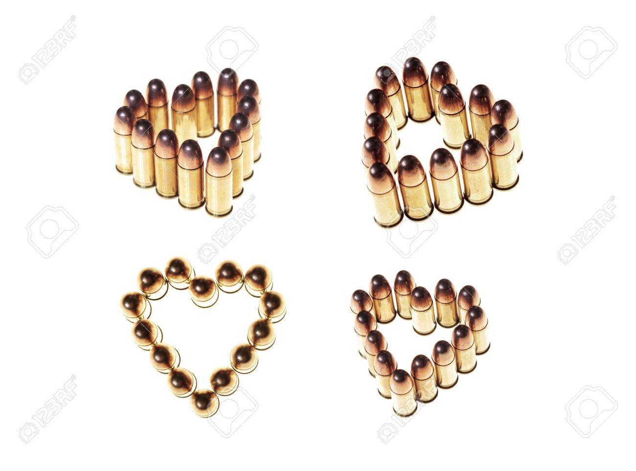heart shaped bullets isolated on white background Stock Photo - 1193445