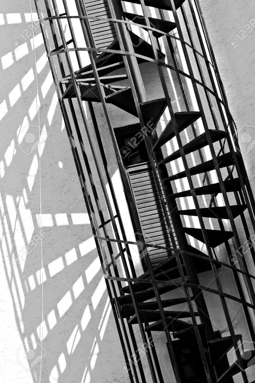 Old Spiral Fire Escape Stairs, Black And White Photo Stock Photo   3445982