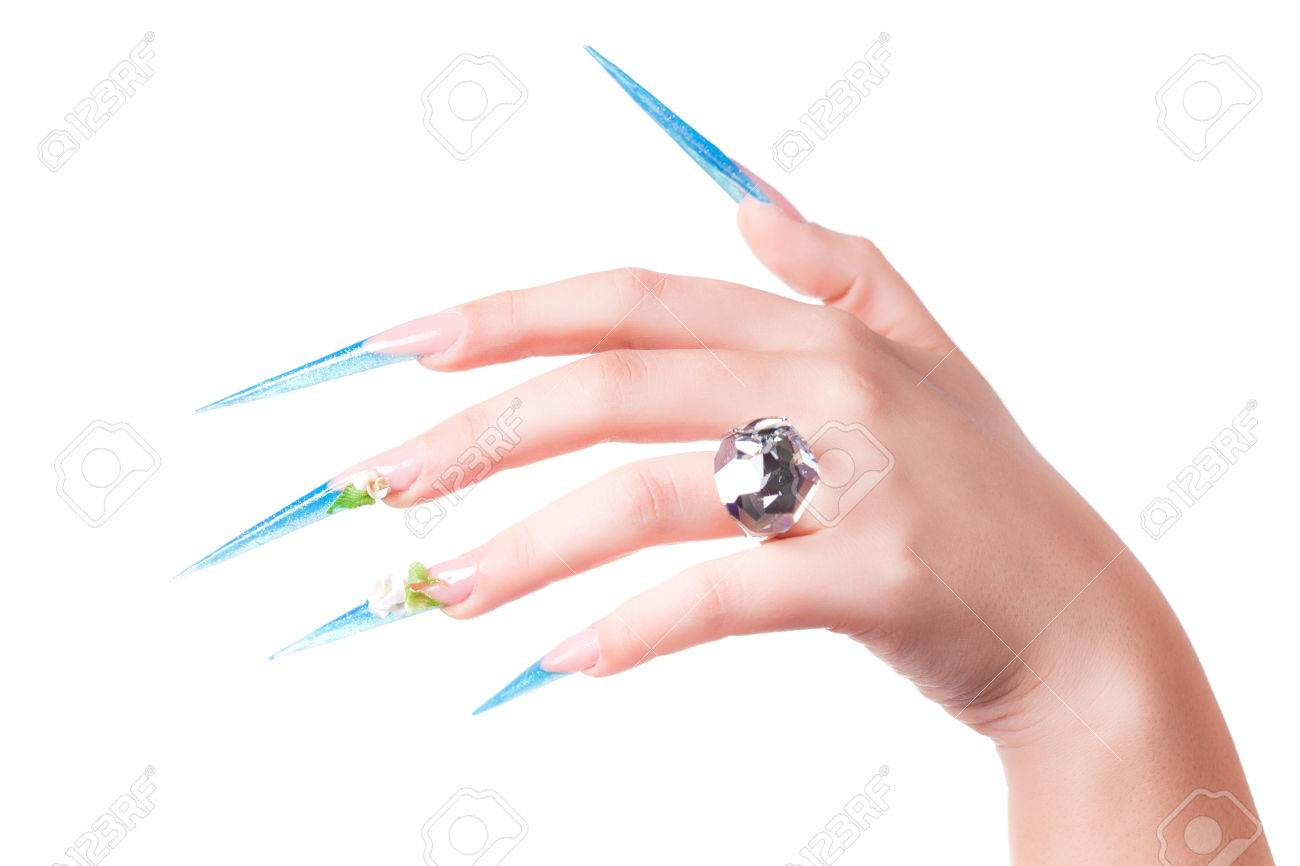 Extremely Long Nails With Nail-art And Crystal Jewellery, Stock ...
