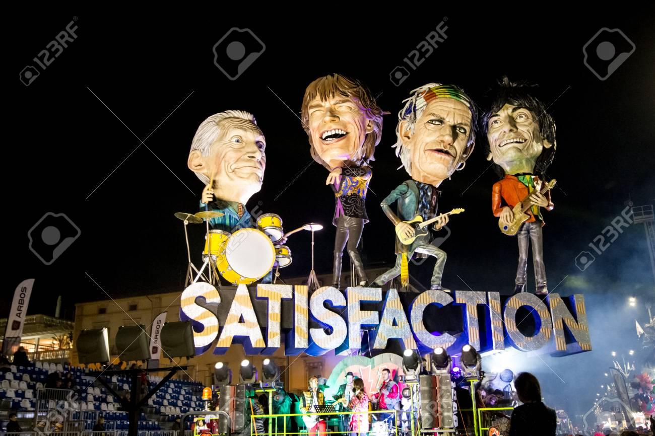 Viareggio, January 2018: Rolling Stones caricature in carnival