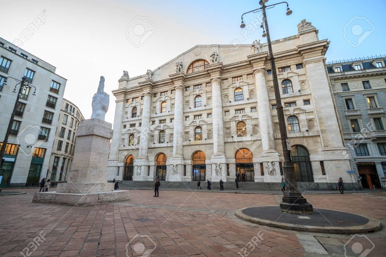 b94803bc82 Milan, March 2018: Italian Stock Exchange (Borsa Italiana) also known as  Piazza