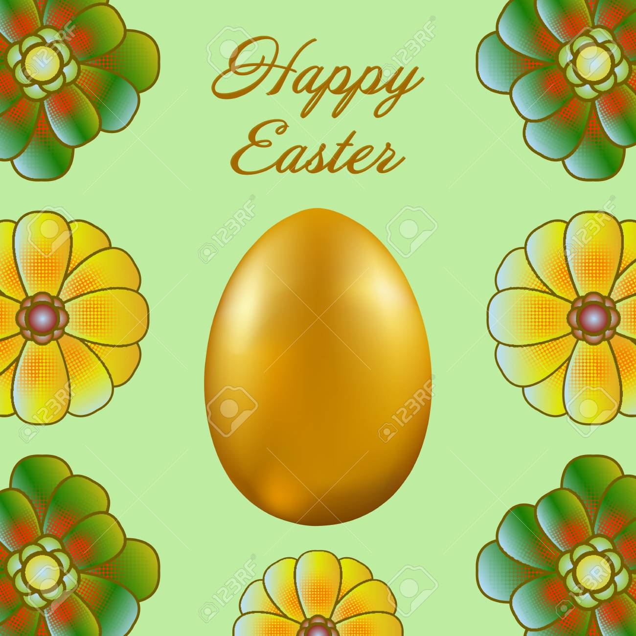 Happy Easter Isolated On A Light Green Background Golden Egg And