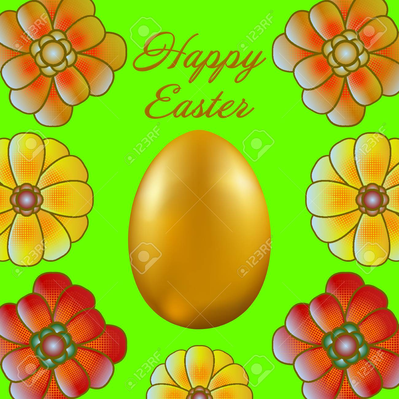 Happy Easter Isolated On Green Background Golden Egg And Flowers