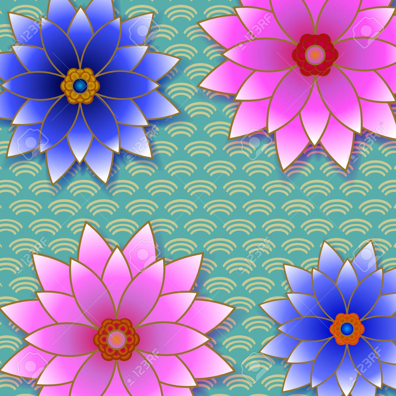 Beautiful Floral Trendy Background With Pink And Blue Flower Stock