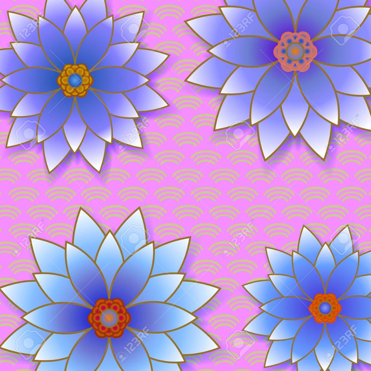 Beautiful Floral Trendy Background With Blue Flowers Cutting Stock