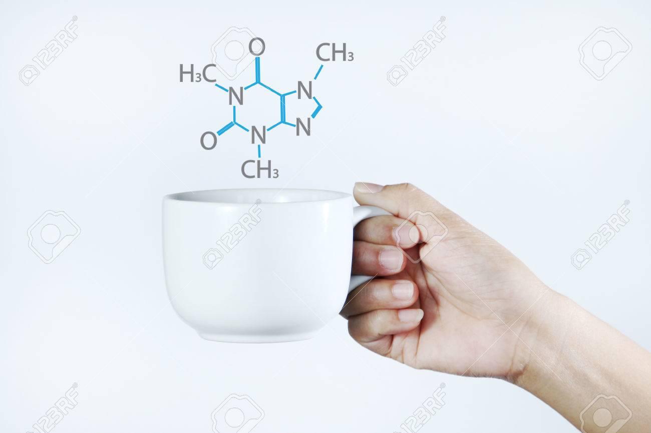 Mujer Con Una Taza De Café Con Leche, Fórmula Química En La Parte ...