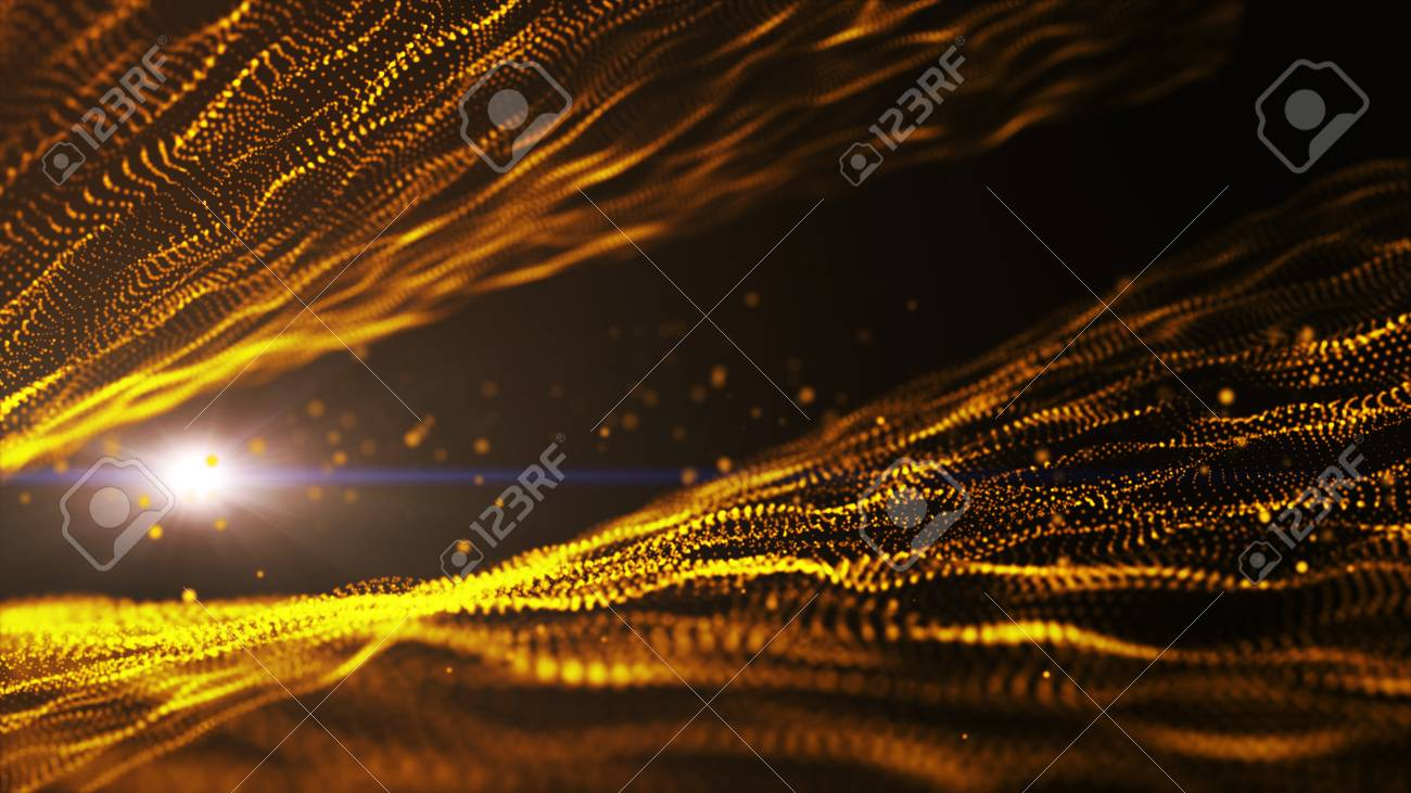 Dark Gold Yellow And Glow Particle Circle Abstract Background