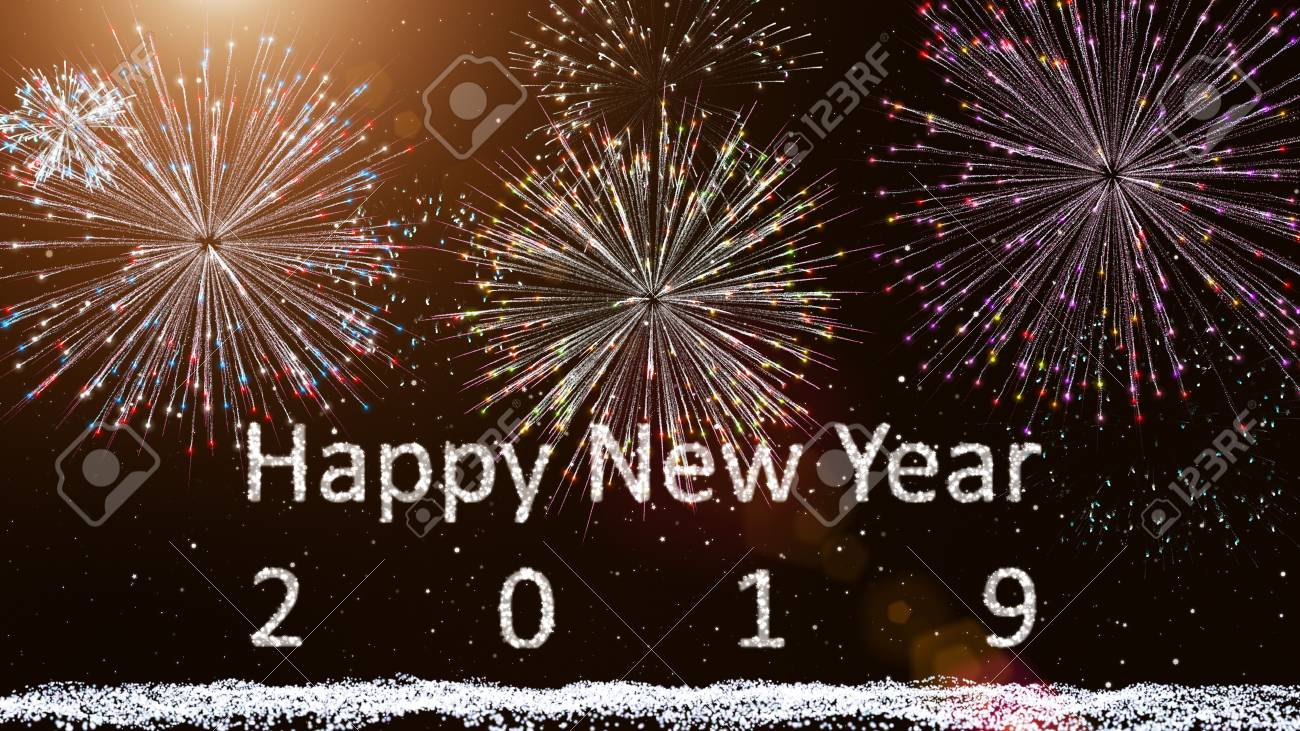 happy new year 2019 firework background with snow and star particle light ray beam