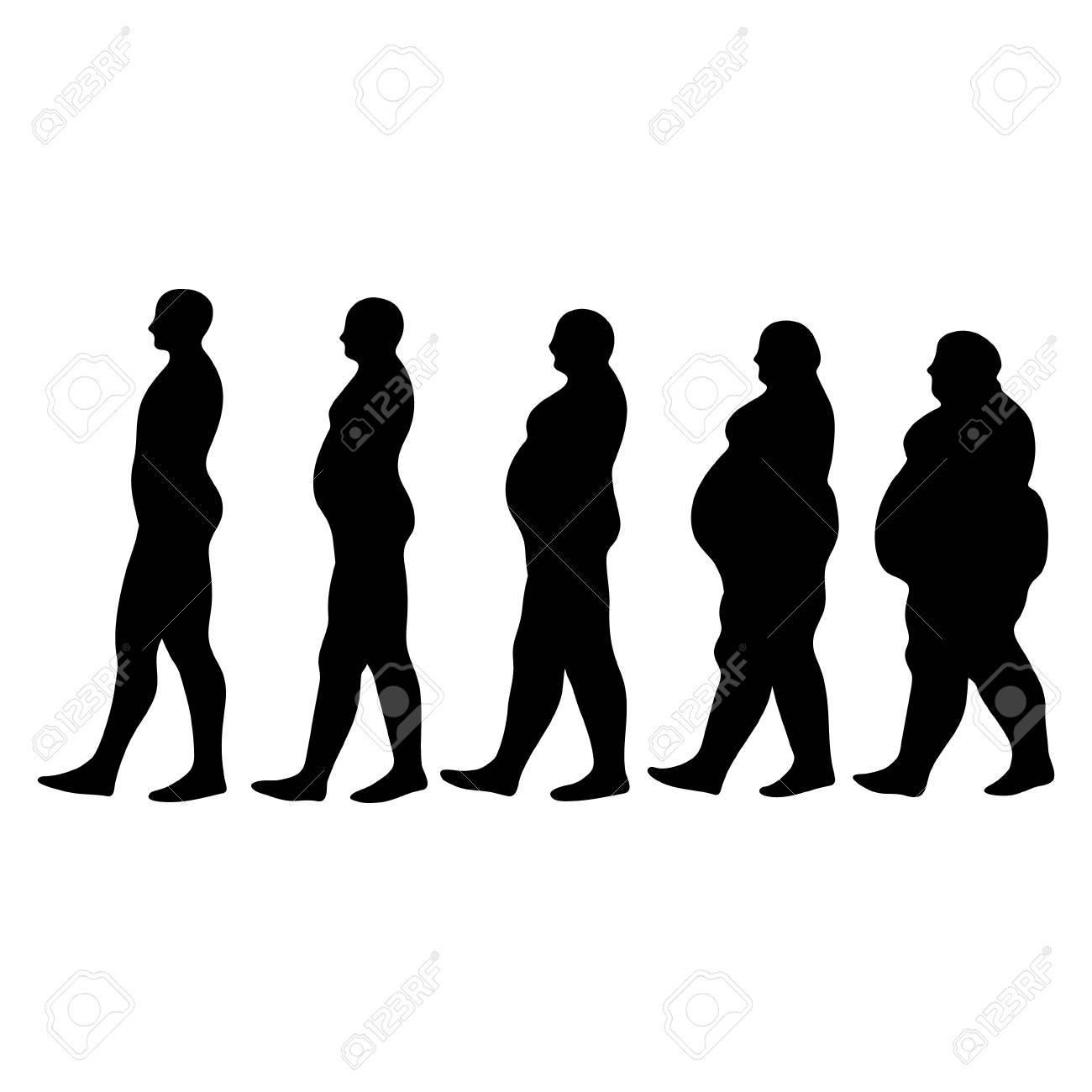 Sagome Persone Che Camminano.Concetto Di Dimagrimento Sagome Di Uomini Che Camminano Persone Che Cercano Di Ridurre Il Peso Dimagrimento Sagome Uomini Illustrazione Vettoriale
