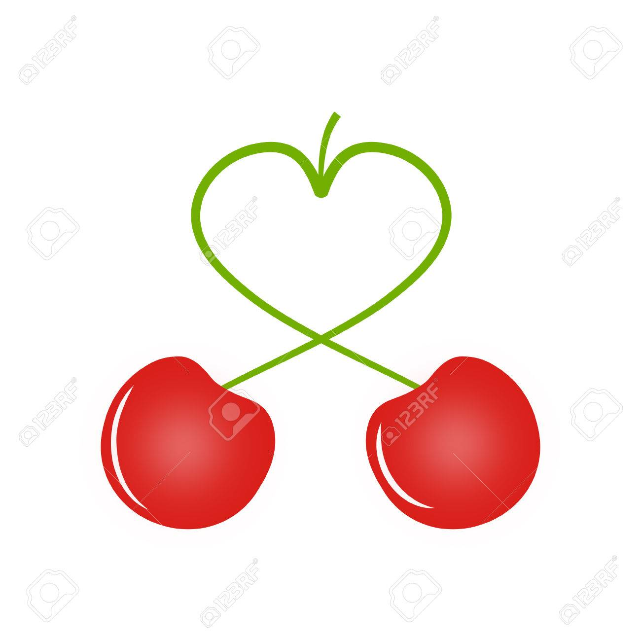 Two Cherries, Cherry Has The Peduncle In The Shape Of A Heart ...