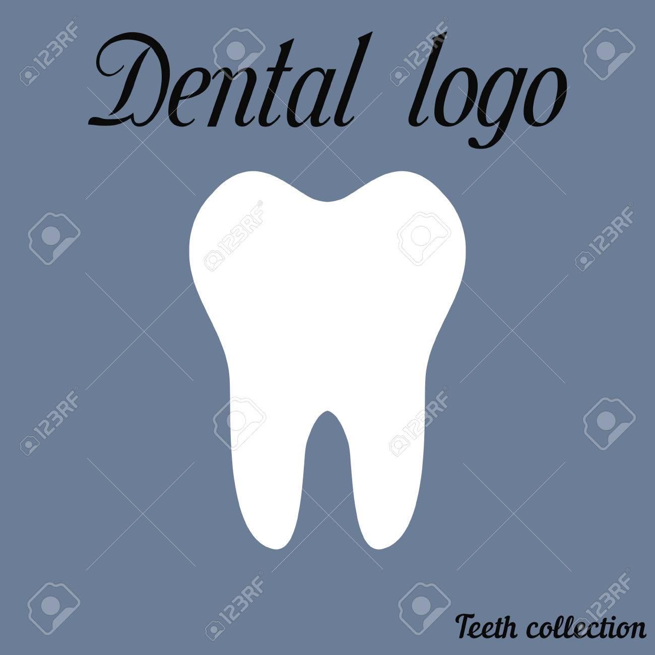 Dental Logo Einfache Karikatur Weiß Zahn Silhouette, Zähne, Vektor ...
