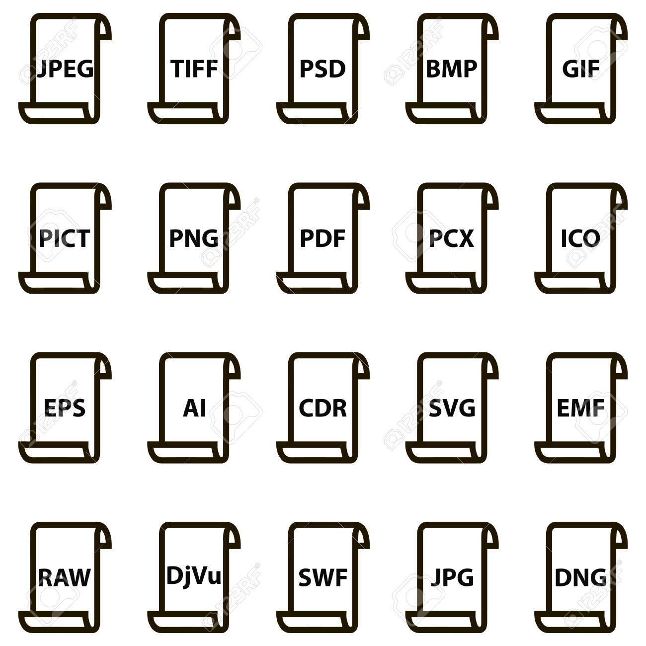 Set icons of document file formats raster and vector graphics. Vector illustration for print or website design Stock Vector - 64318429