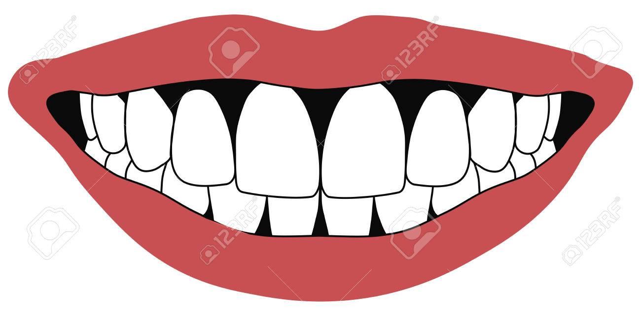 唇の前歯白口を開けて前歯歯科コンセプトベクトルのイラスト素材