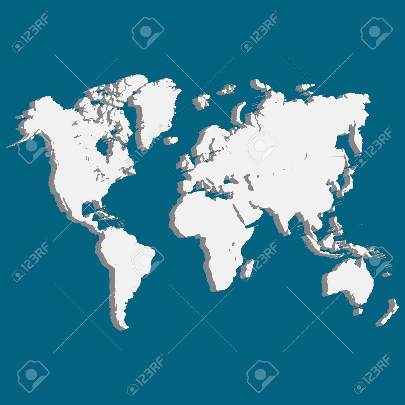 illustration wold map with usa europe africa the americas and asia as an international symbol of global communications as a three dimension vector