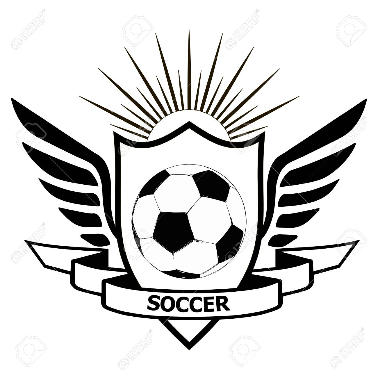 logo soccer team heraldic shield with wings banner of team soccer