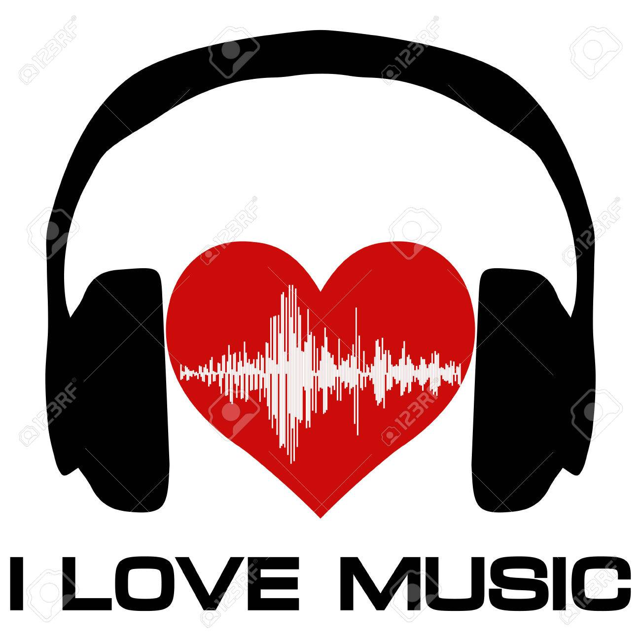 I love music, vinyl cover for a music fan poster with headphones