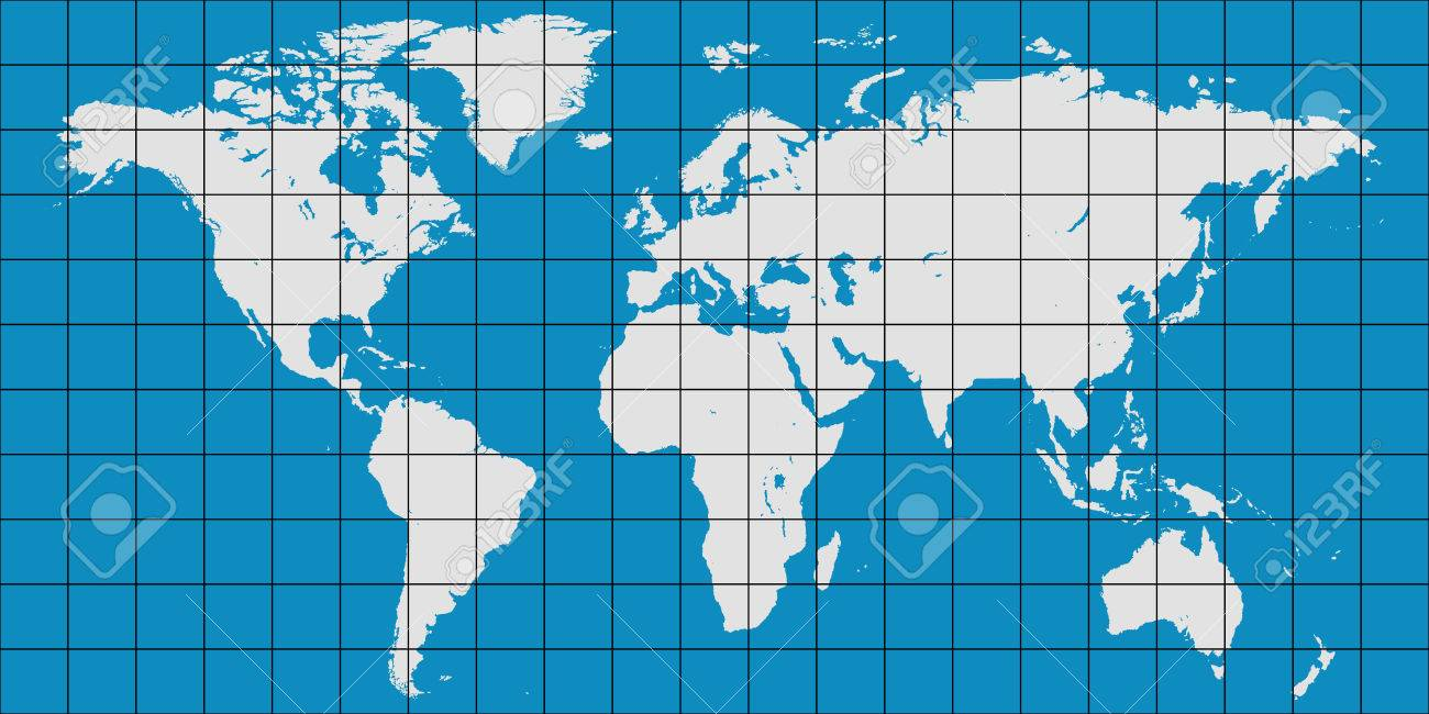 World map with coordinate grid and meridian and parallel vector vector world map with coordinate grid and meridian and parallel vector map of planet earth gumiabroncs Image collections