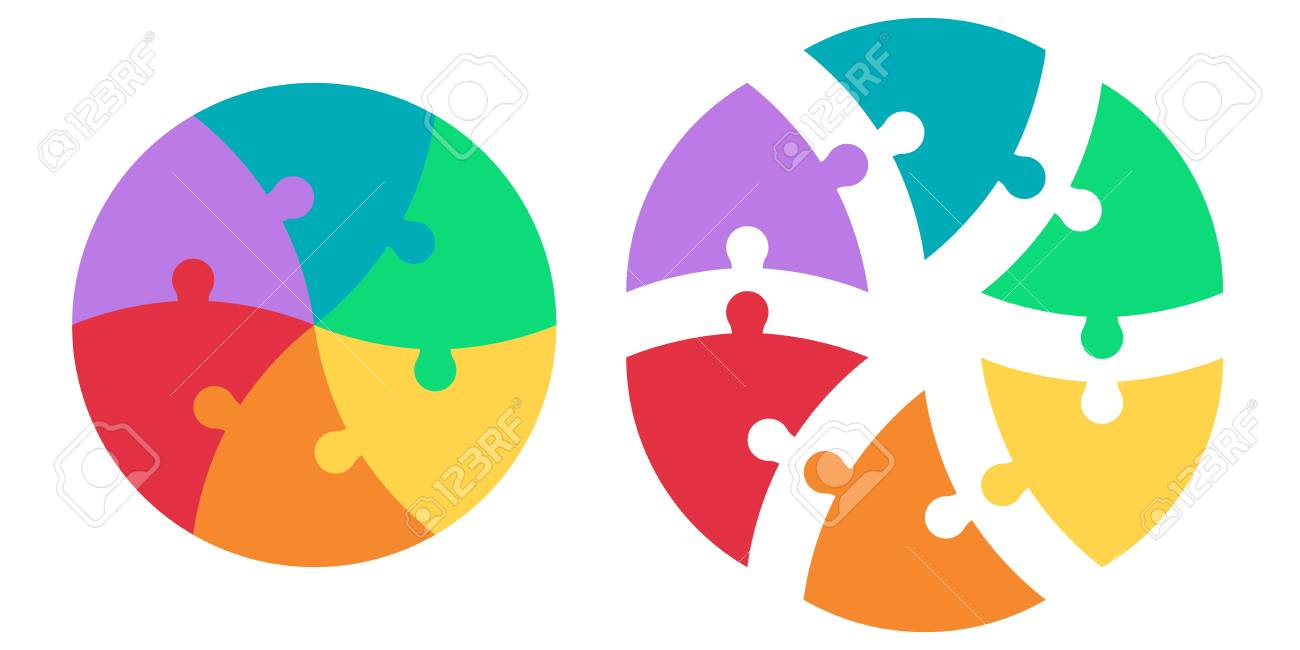Round puzzle of triangular colored sectors, vector template infographics
