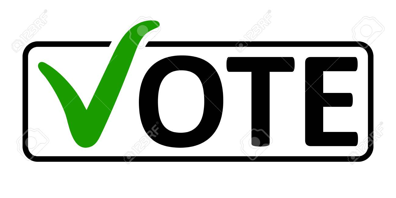 Word Vote With A Green Check Mark Instead Of The Letter V In