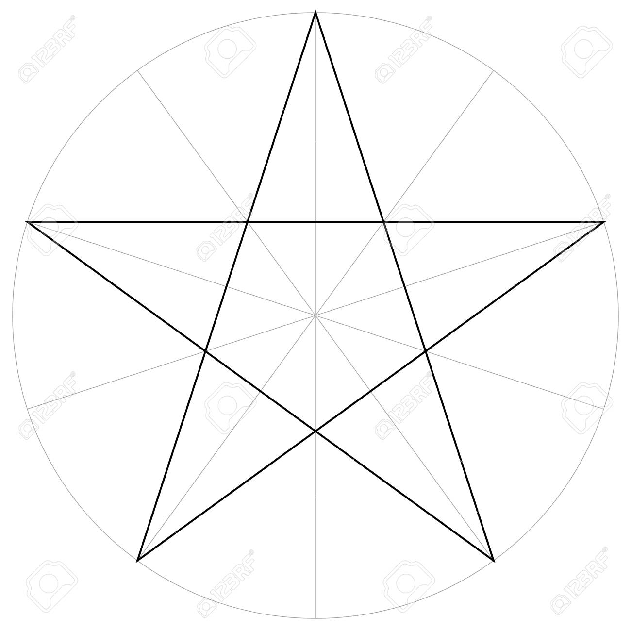 correct form shape template of the geometric shape of the pentagram