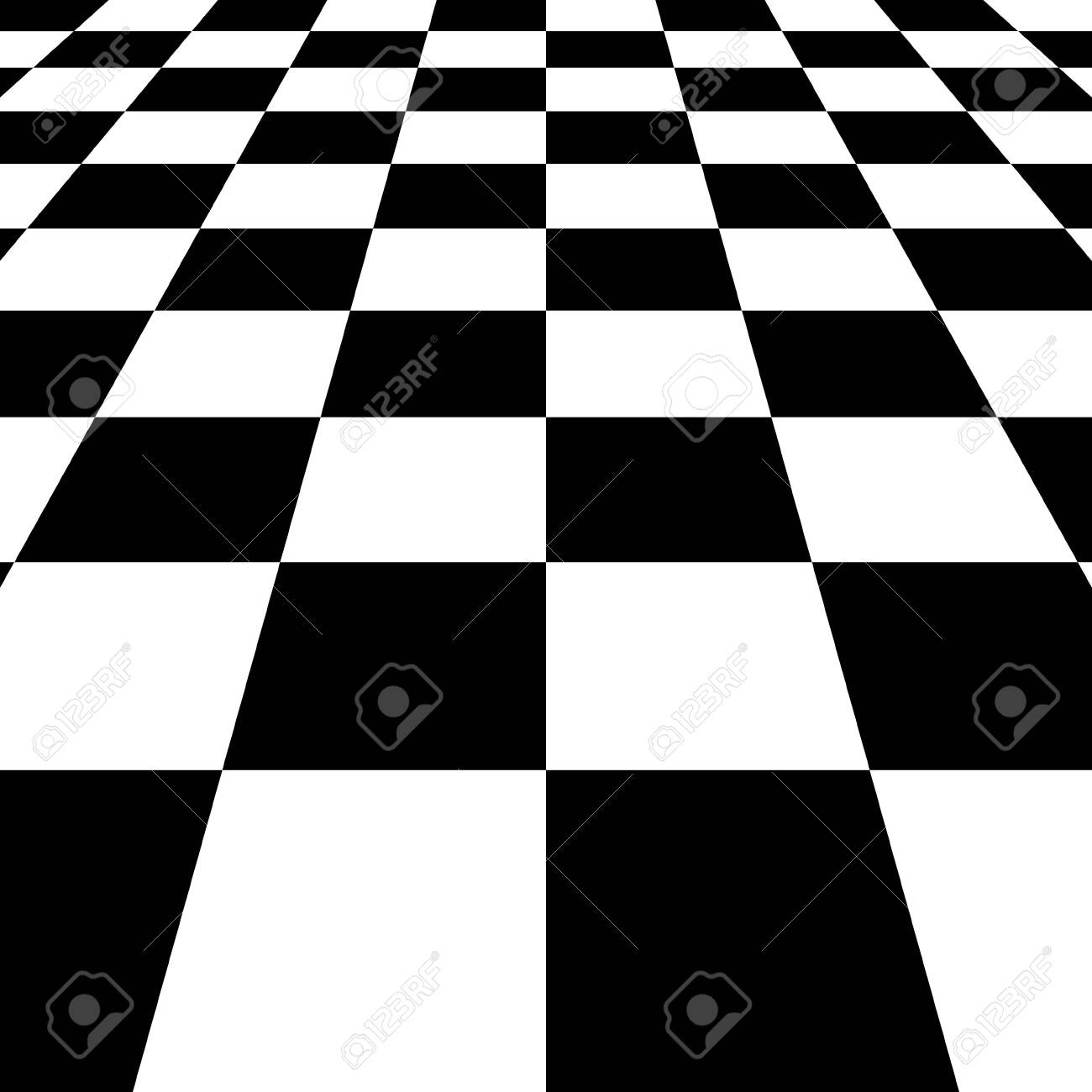 Black white squares checkered Board background, vector chessboard perspective - 140641047