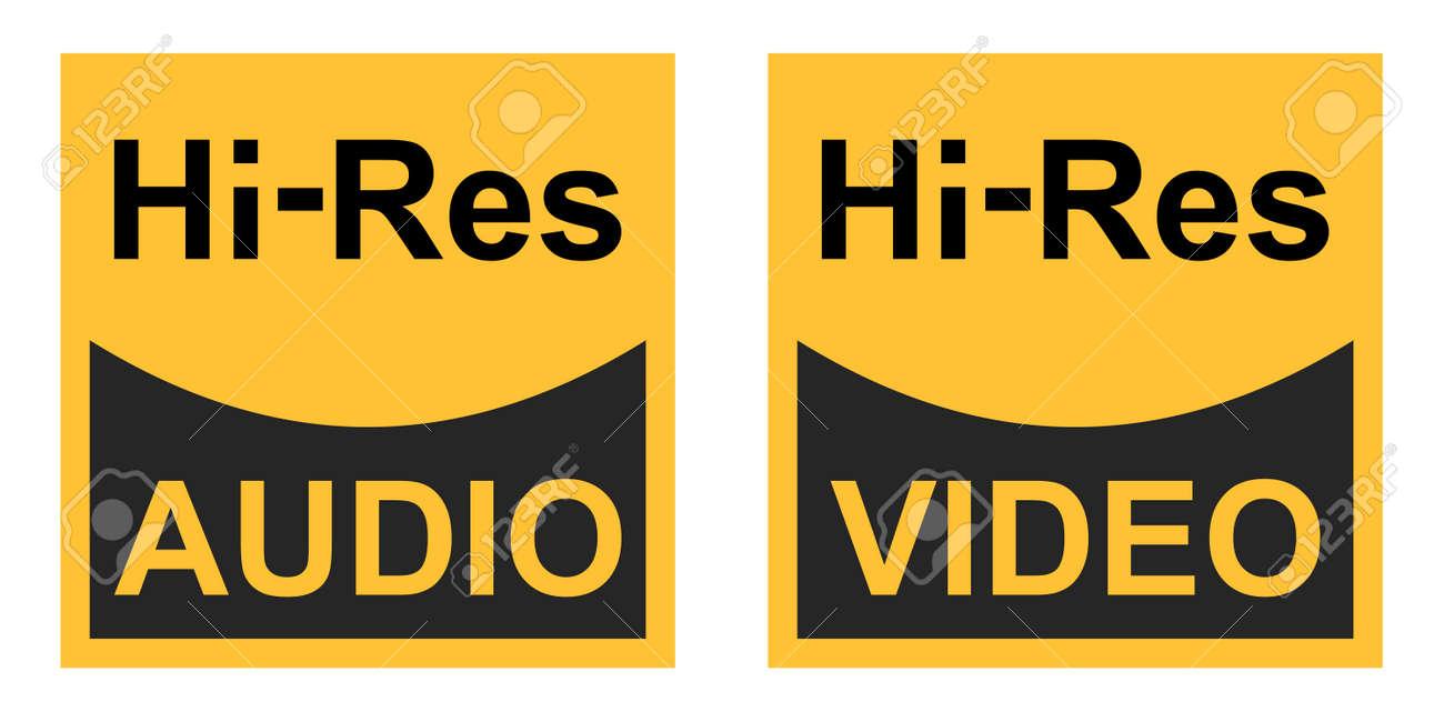 High resolution video audio signals vector sign symbol icon hi res audio video - 164285899