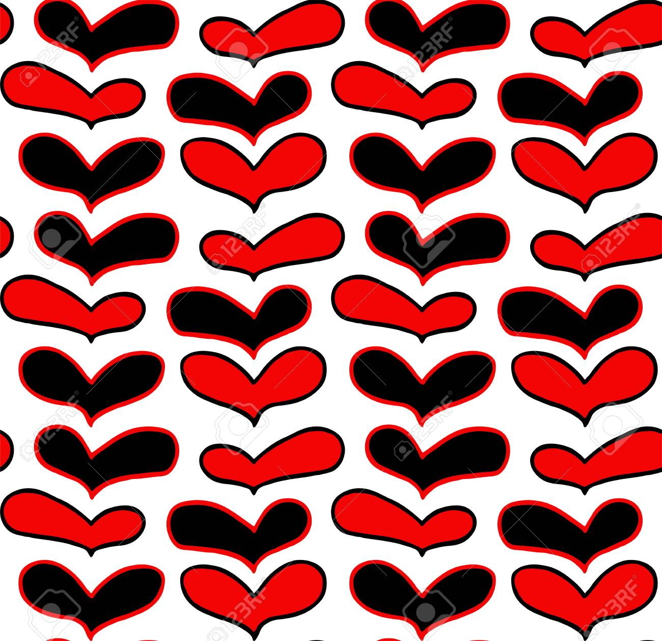 Vector Pattern Of Hand Drawn Red Black Hearts In Doodling Style