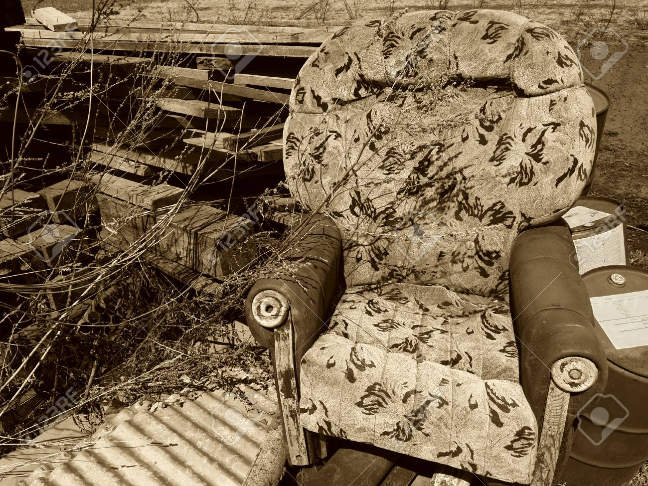Terrific Old Broken Armchair At The Dump With Boards Andrewgaddart Wooden Chair Designs For Living Room Andrewgaddartcom