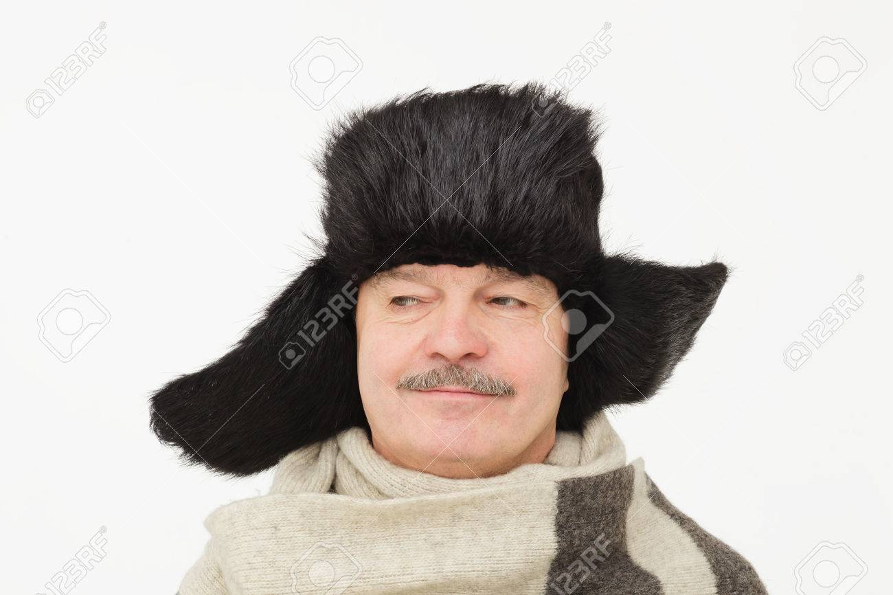 b9748326404a7 elderly man in warm fur hat with earflaps. Stock Photo - 66472882