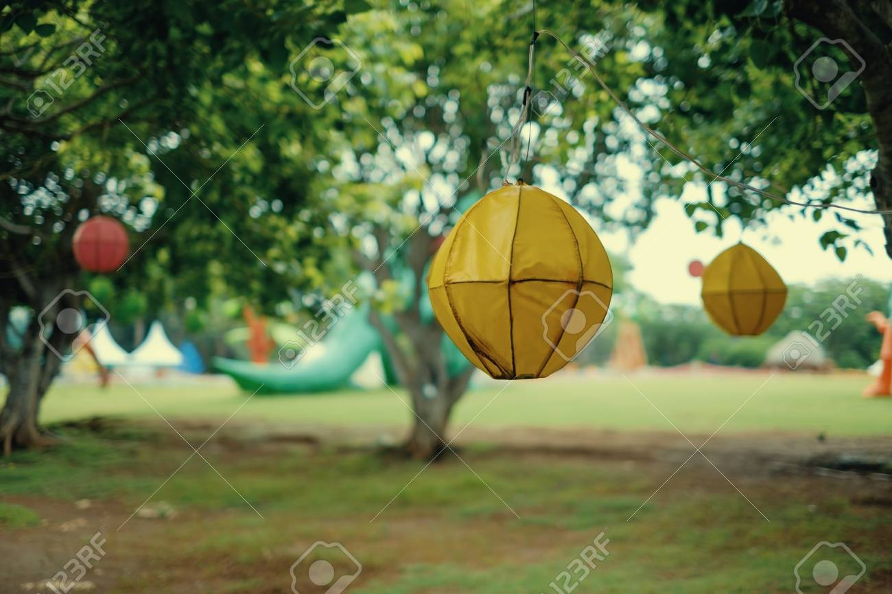 Decor Of Forest For Vintage Party Hanging Lanterns On Trees Stock Photo Picture And Royalty Free Image Image 92557590