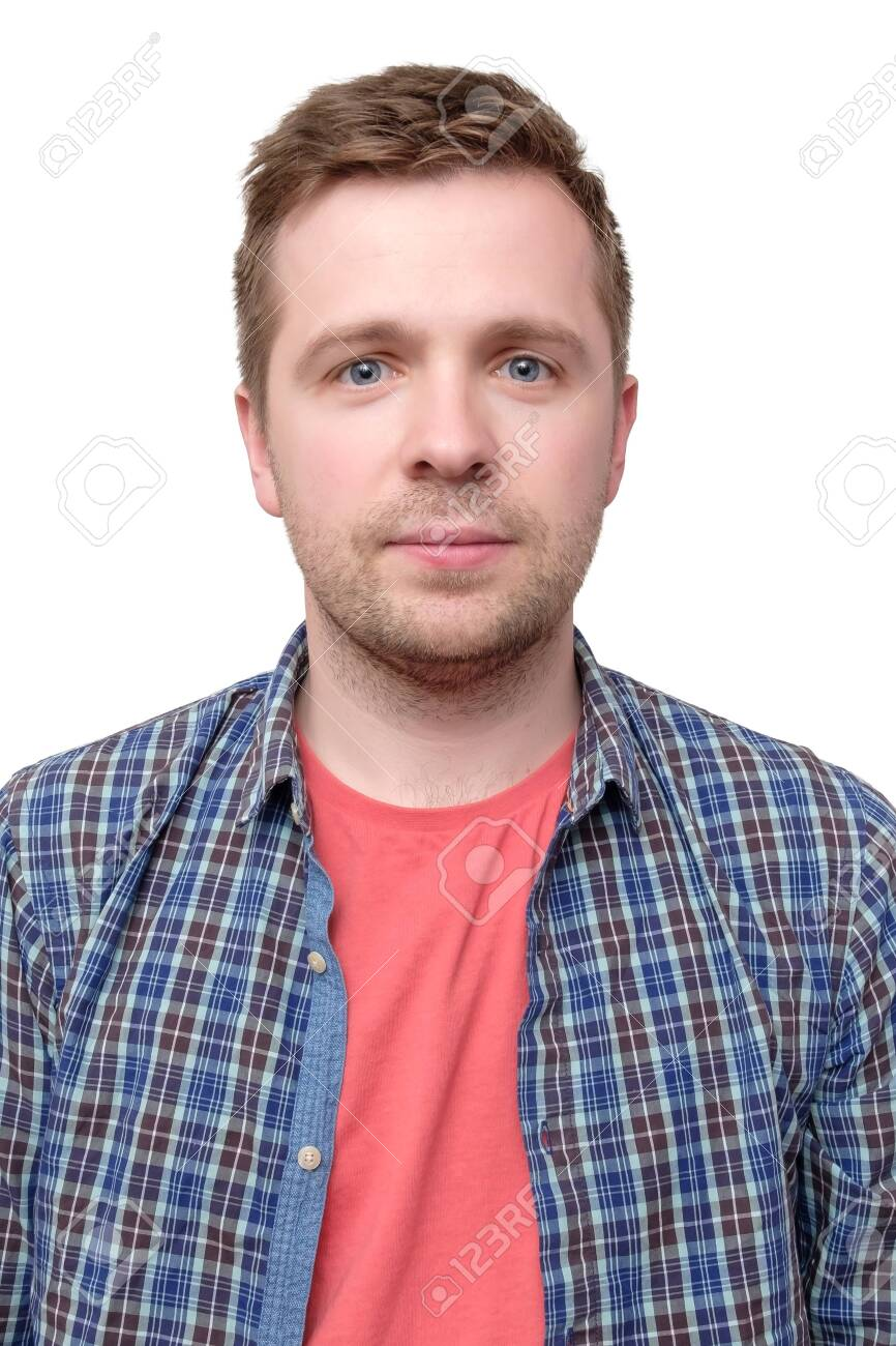 ID picture of a guy in a checked shirt and pink t-shirt - 123744687