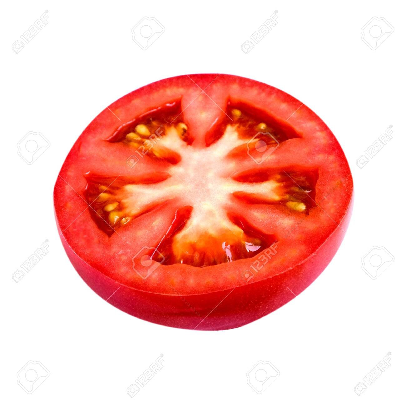 isolated cut red piece of tomato on white background - 131876074