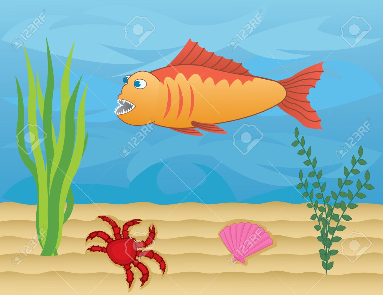 fish and crab on the sea floor Stock Vector - 13384739