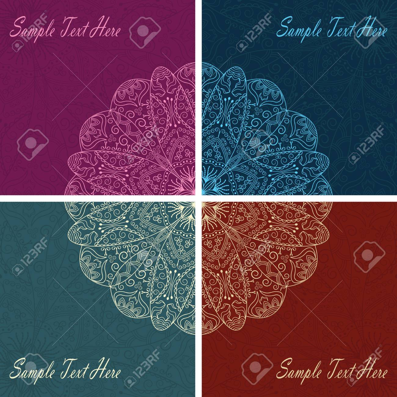 set of four cards with stylish lace decoration Stock Vector - 13566663