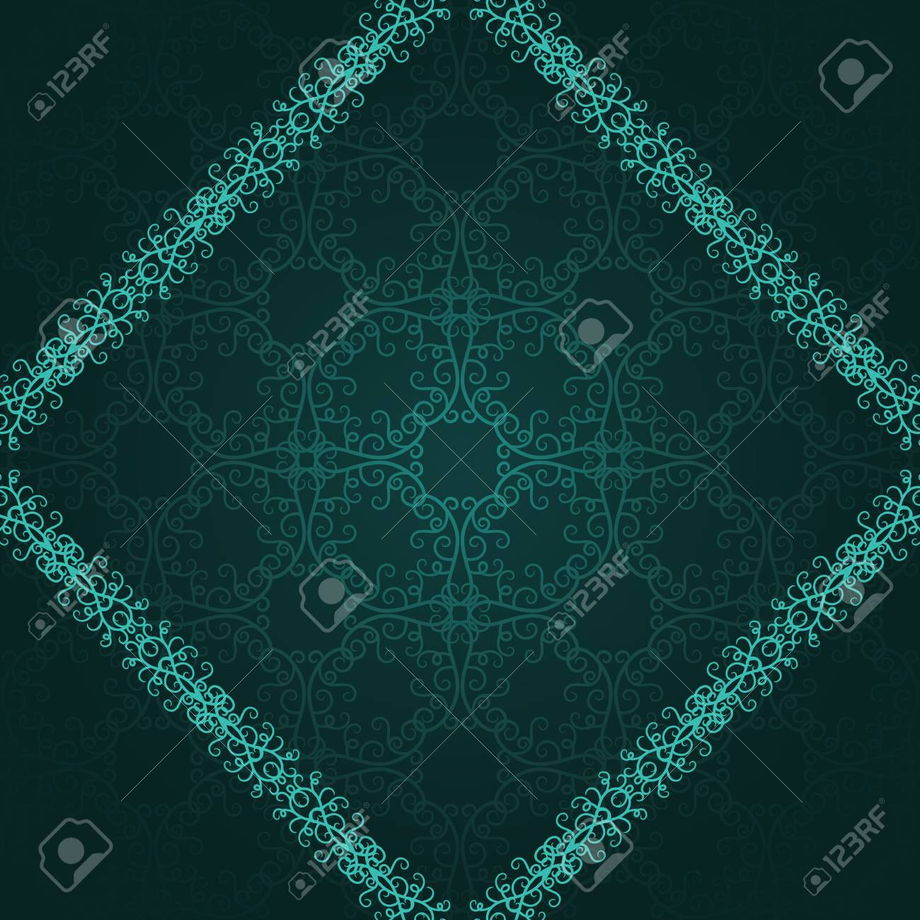 Vintage frame in a diamond shape with a damask wallpaper on a dark background Stock Vector - 13603375