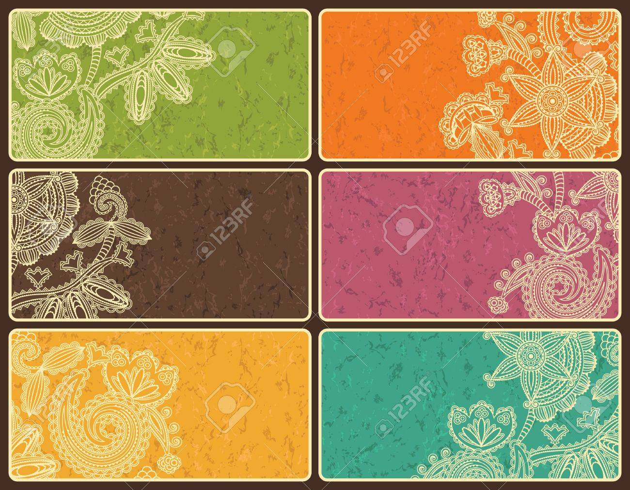 Set of business cards with abstract floral pattern and grunge background in bright colors Stock Vector - 14256793