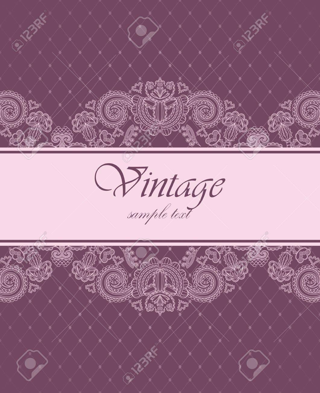 Elegant vintage invitation with floral pattern Stock Vector - 14565303